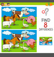 differences activity with farm animal characters vector image vector image