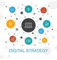digital strategy trendy web concept with icons vector image