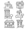 doodle of house set hand draw collection vector image vector image