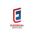 electrical supplies letter e icon vector image