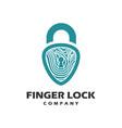 finger padlock logo vector image