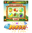 Game template with fresh fruit characters vector image vector image