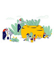 gardening hobby farmers or gardeners family with vector image