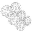 gear sketch rendering of 3d wire-frame vector image vector image