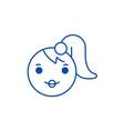 girl emoji line icon concept girl emoji flat vector image vector image