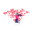 girl rejoices and jumps from like notifications vector image vector image