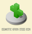 heath icon isometric style green cross vector image vector image
