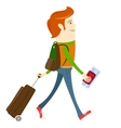 Hipster-traveler walking and holding passport vector image