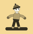 icon in flat design snowboarder vector image