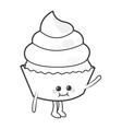 Kawaii cupcake cute cake icon vector image