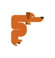 letter f is dog pet font dachshund alphabet vector image vector image