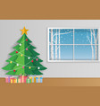 merry christmas and winter season greeting card vector image vector image