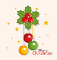merry christmas balls hanging flower holly berry vector image vector image