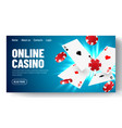 online casino web landing page template or banner vector image
