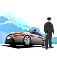 police car and policeman vector image vector image