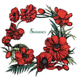 Poppies round color vector image