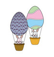 rabbit flying balloons eggs basket vector image vector image