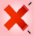 Red cross symbol from paint roller brush vector image