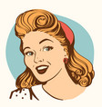 retro smiling woman portrait face color vector image vector image