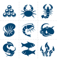 seafood icon set vector image vector image