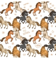 Seamless pattern of cute horses frolicking in vector image vector image