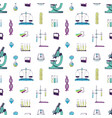 seamless pattern with chemistry and physics vector image vector image