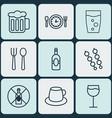 set of 9 food icons includes hooch soda drink vector image vector image
