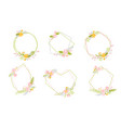 set of geometric spring wreath with flower flat vector image vector image