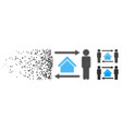 shredded pixelated halftone men home exchange icon vector image vector image