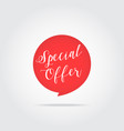 special offer label handdrawn lettering red vector image vector image