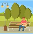 street musician playing guitar flat vector image vector image