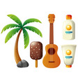 summer set with coconut tree and guitar vector image vector image