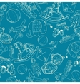 Toys sketch blue seamless pattern vector image vector image