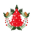 tree pinecone leaves christmas decoration vector image