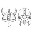 viking helmets hand drawn sketch vector image