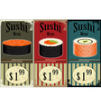 vintage sushi labels vector image