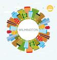 wilmington delaware city skyline with color vector image vector image