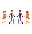 young man and woman walking front rear view vector image vector image