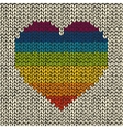 Seamless background with rainbow knitted heart vector image
