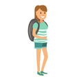 woman in denim shorts and with big backpack vector image