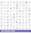 100 camera icons set outline style vector image vector image