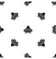 alien spaceship pattern seamless black