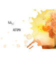 autumn background with a tree on watercolor stain vector image
