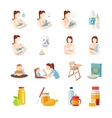Baby Feeding Flat Icons Set vector image vector image
