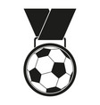black and white soccer award medal silhouette vector image vector image