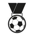 black and white soccer award medal silhouette vector image