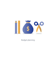 Budget cut scissors financial knowledge pencil and vector image vector image