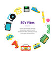 cartoon eighties style symbol banner card circle vector image vector image