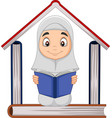 cartoon muslim girl reading a book with pile bo vector image vector image