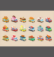 colorful flat set of isometric food trucks vector image